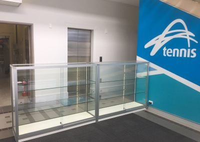glass display shelving LED lighting - office furniture perth