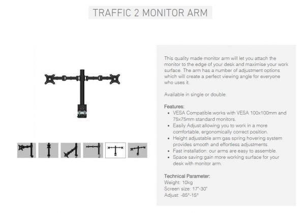 Traffic2 Specs monitor arm
