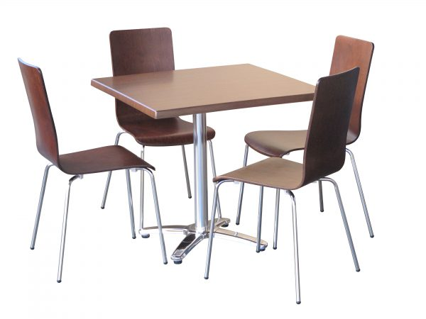 Avoca Walnut hospitality table and chair Setting